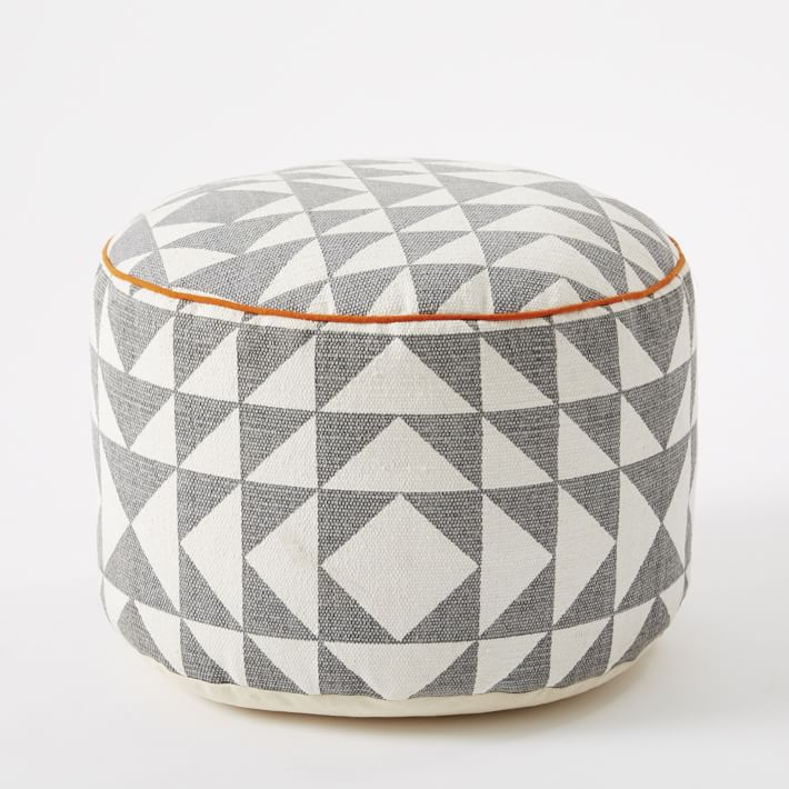diy how to sew a pouf cover tickled in nyc. Black Bedroom Furniture Sets. Home Design Ideas